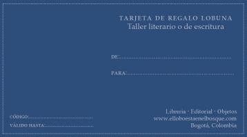 Tarjeta de regalo Taller literario o de escritura: https://bit.ly/34tTSFC